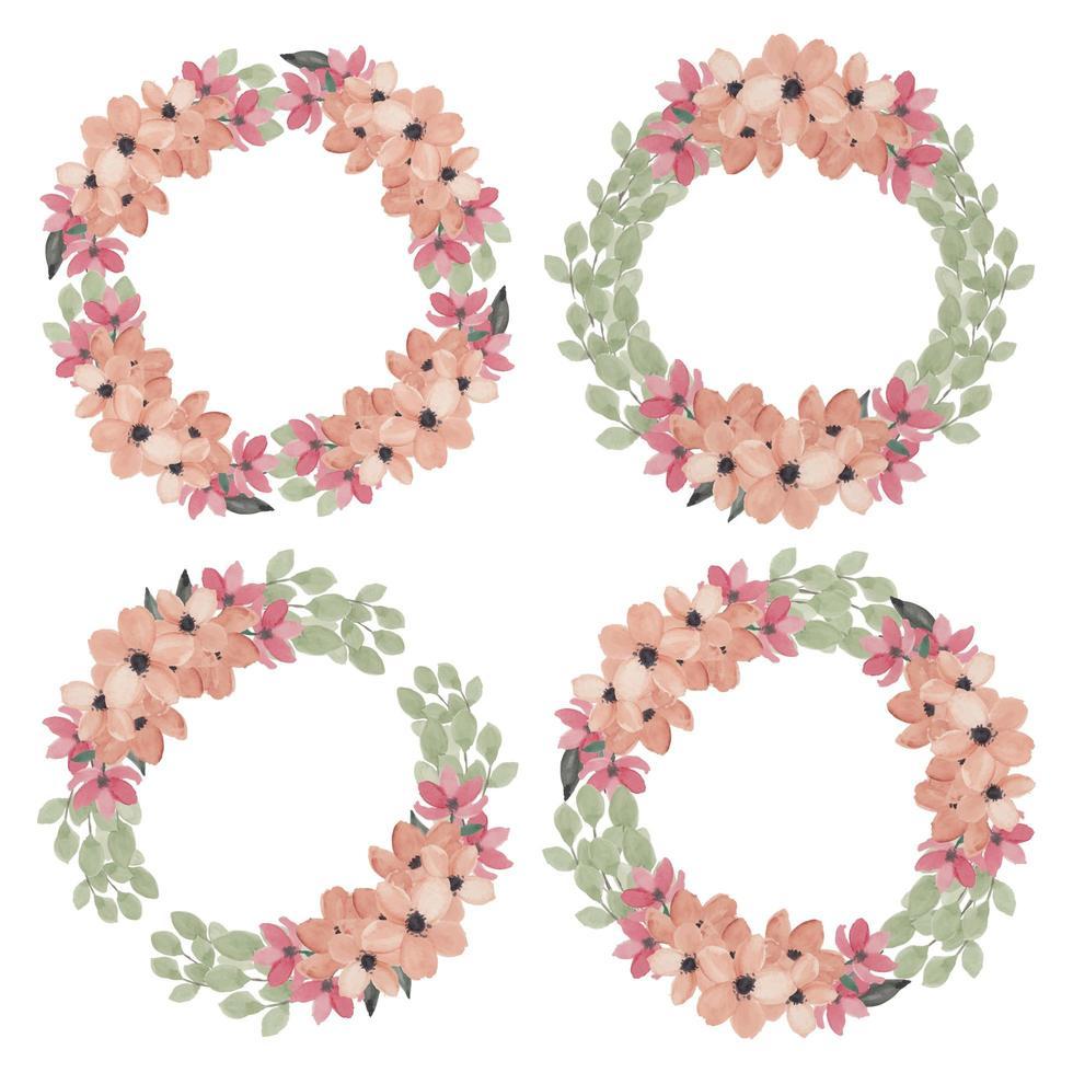 akvarell blommig cirkel ramuppsättning vektor