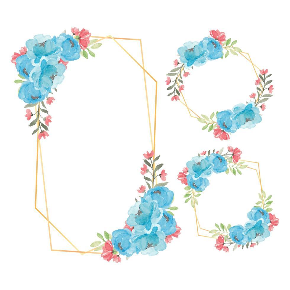 rustik blommig ram akvarell blå pion blomma uppsättning vektor