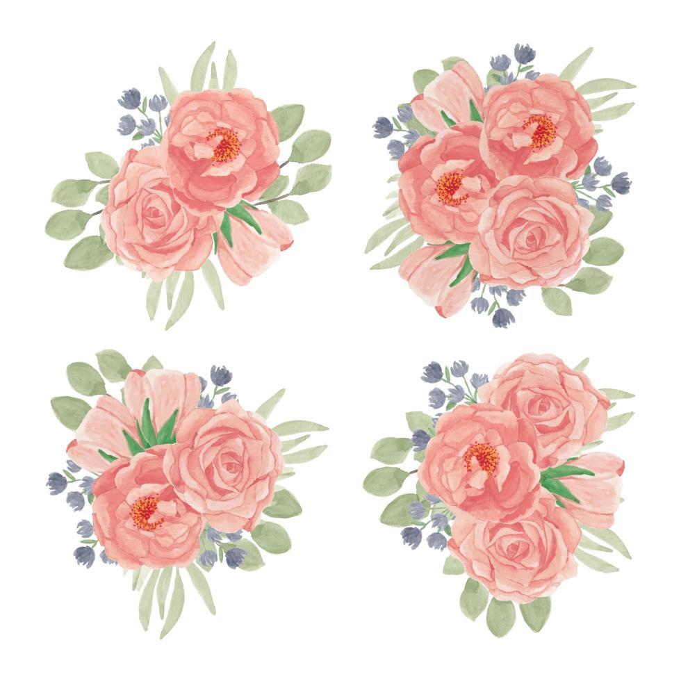 persika rosa blomma bukett samling i akvarell stil uppsättning vektor