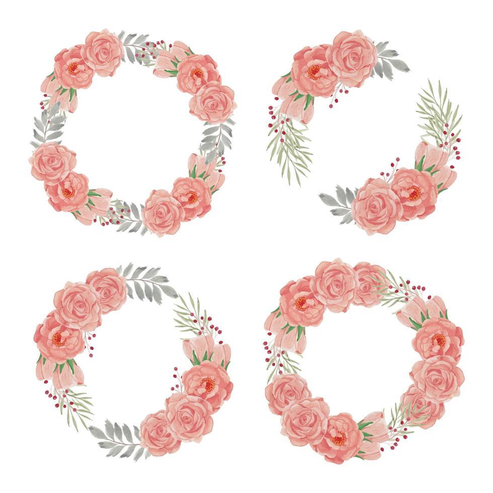 akvarell blomma krans med persika ros samling uppsättning vektor