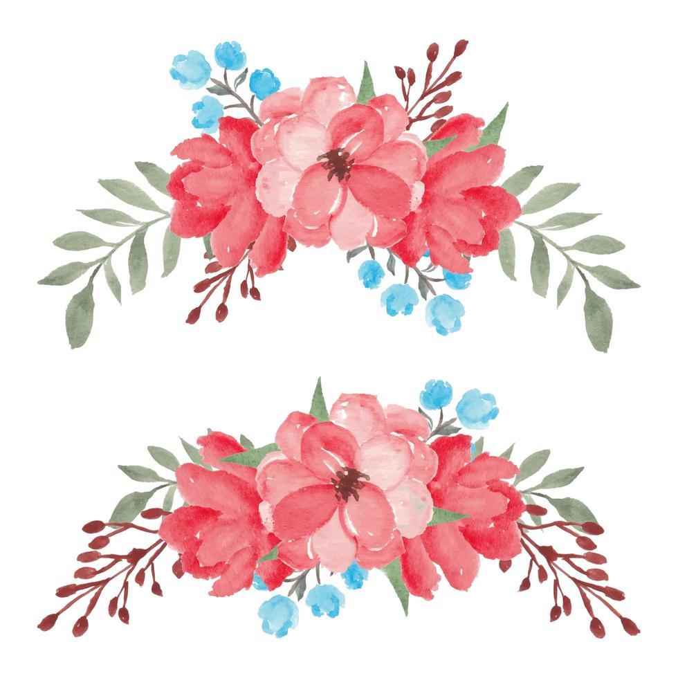 handmålad akvarell röd blommig bukettuppsättning vektor