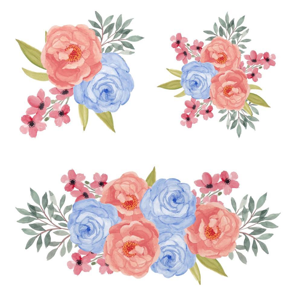 akvarell färgglada rosa och blå ros blomma bukett uppsättning vektor