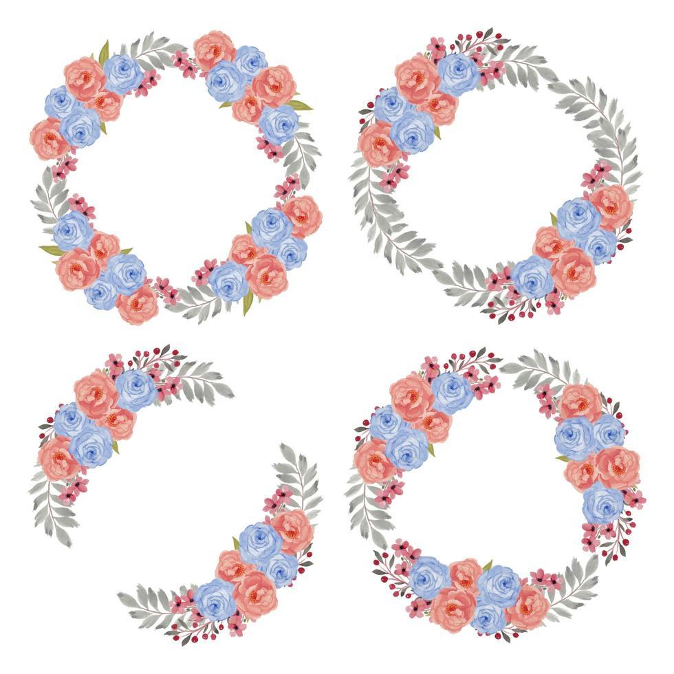 Aquarell buntes rosa blaues Blumenkranzset vektor
