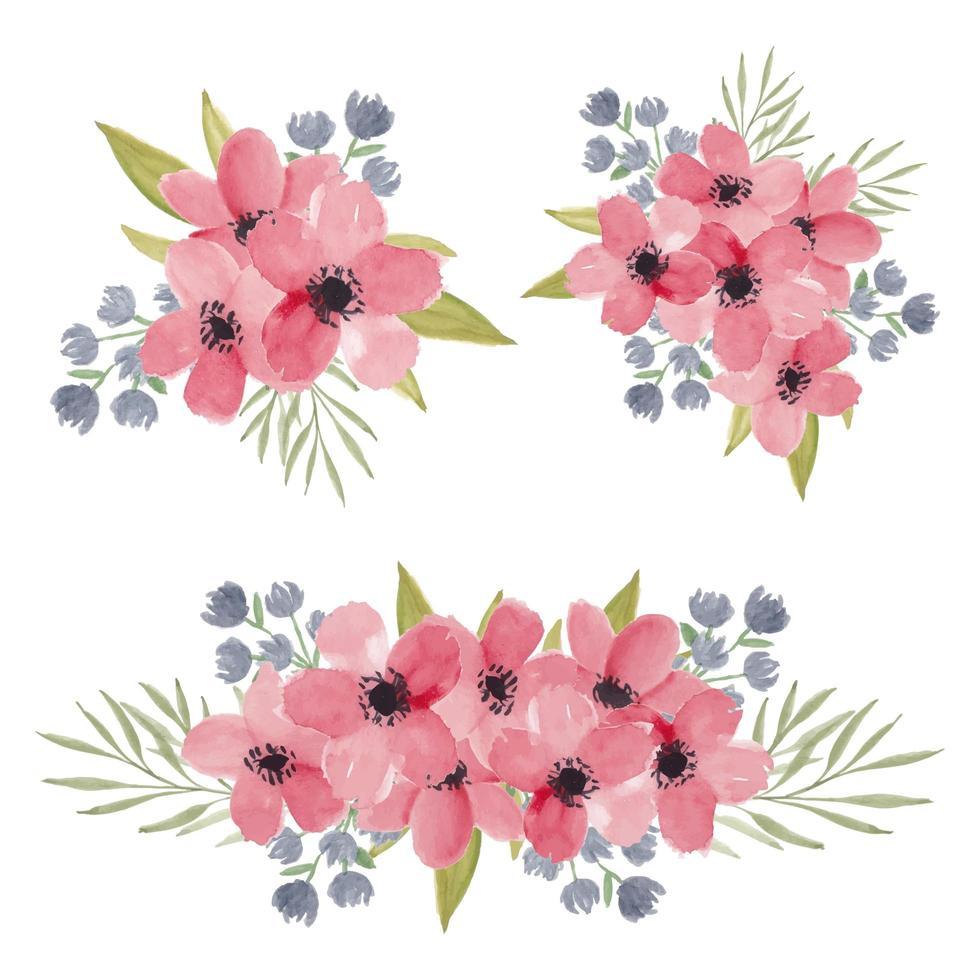 akvarell körsbärsblommor blombukett samling vektor