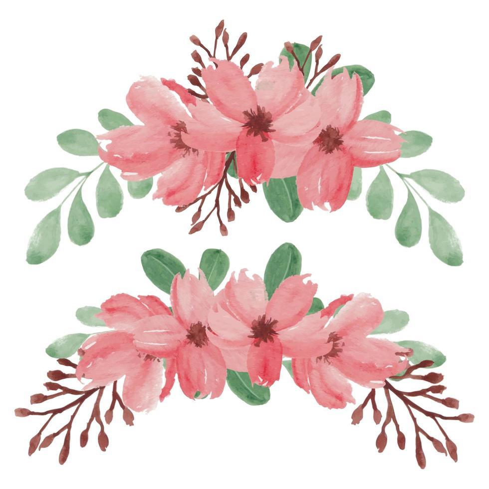 handmålade våren körsbärsblommor blomma arrangemang set vektor