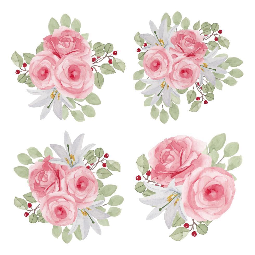 Rosenblumenaquarellsammlung in der rosa Farbe vektor