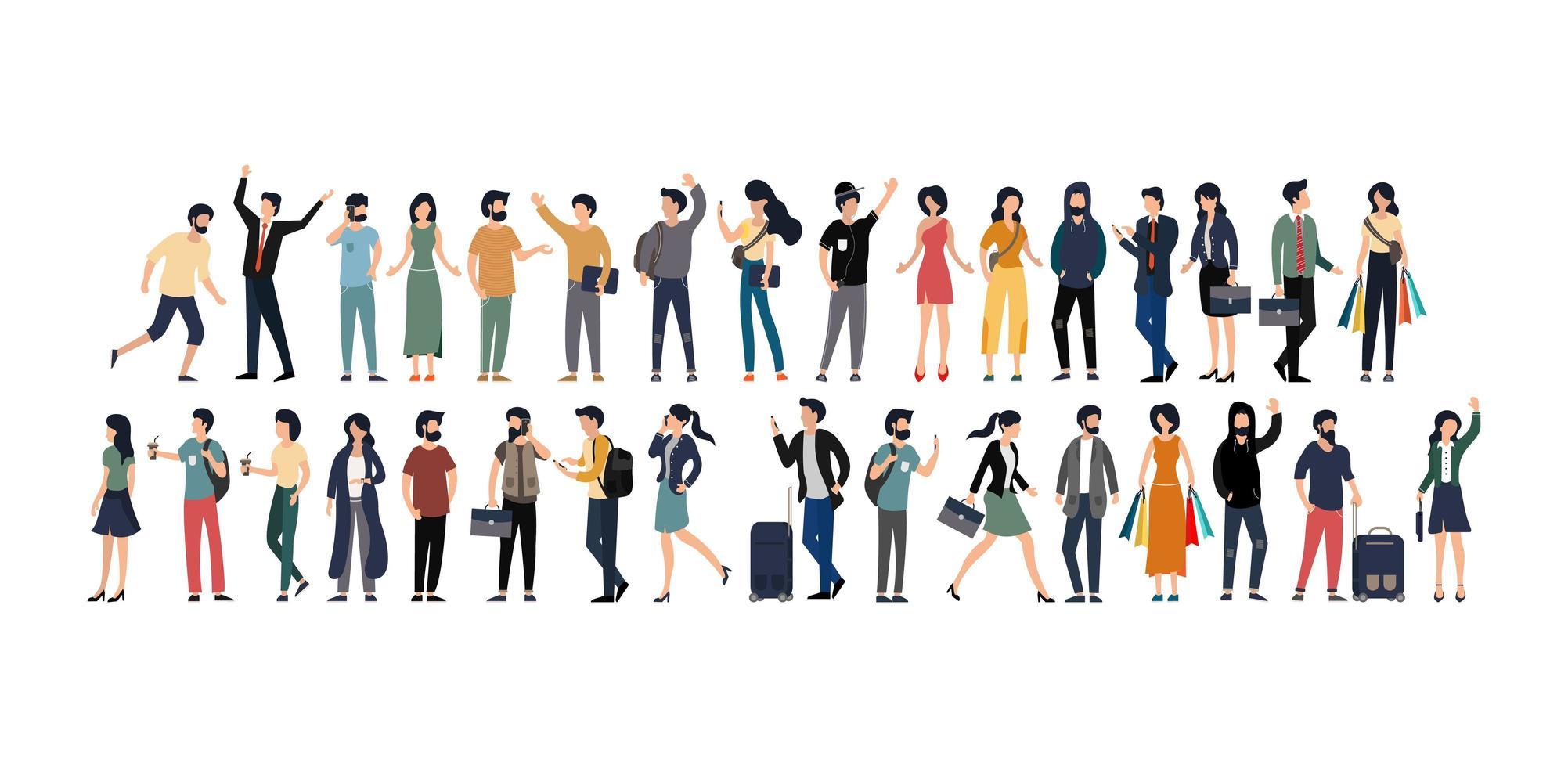 Gruppe junger Männer und Frauen in verschiedenen Berufen vektor