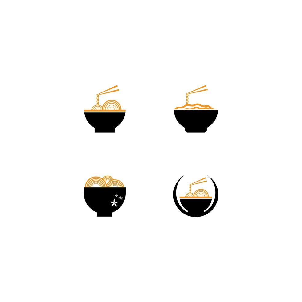 nudel logotyp Ikonuppsättning vektor