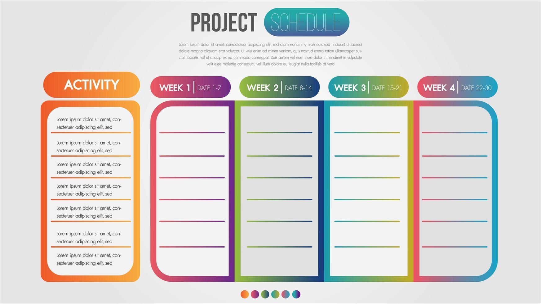 färgglada dagliga och veckoplan vektor