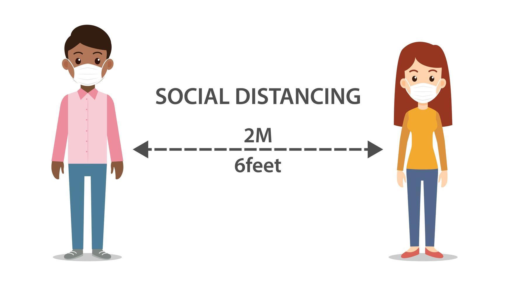 sozialer distanzierender Mann und Frau, die Masken tragen vektor