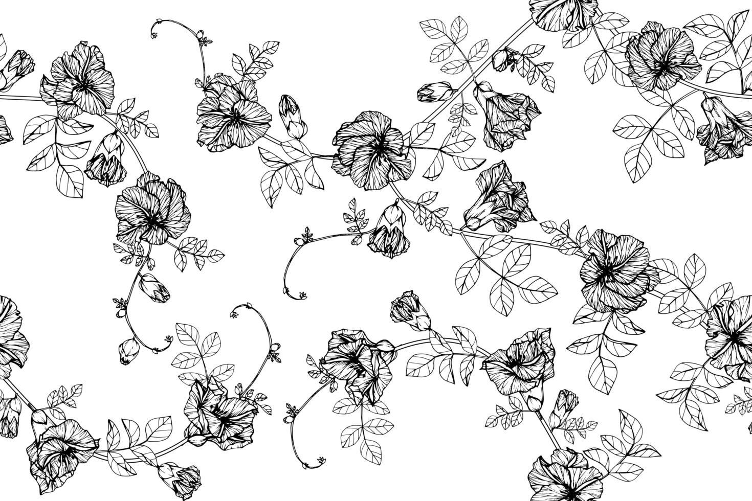 handritad fjäril ärtor blommor sömlösa mönster vektor
