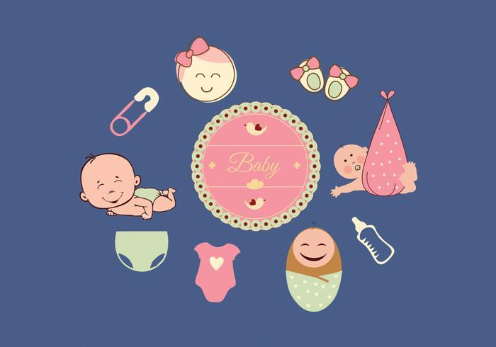 Baby ikoner uppsättning vektor