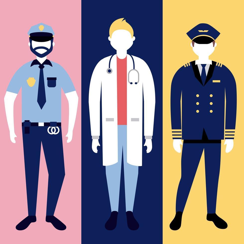 polis och läkare karaktär uppsättning vektor