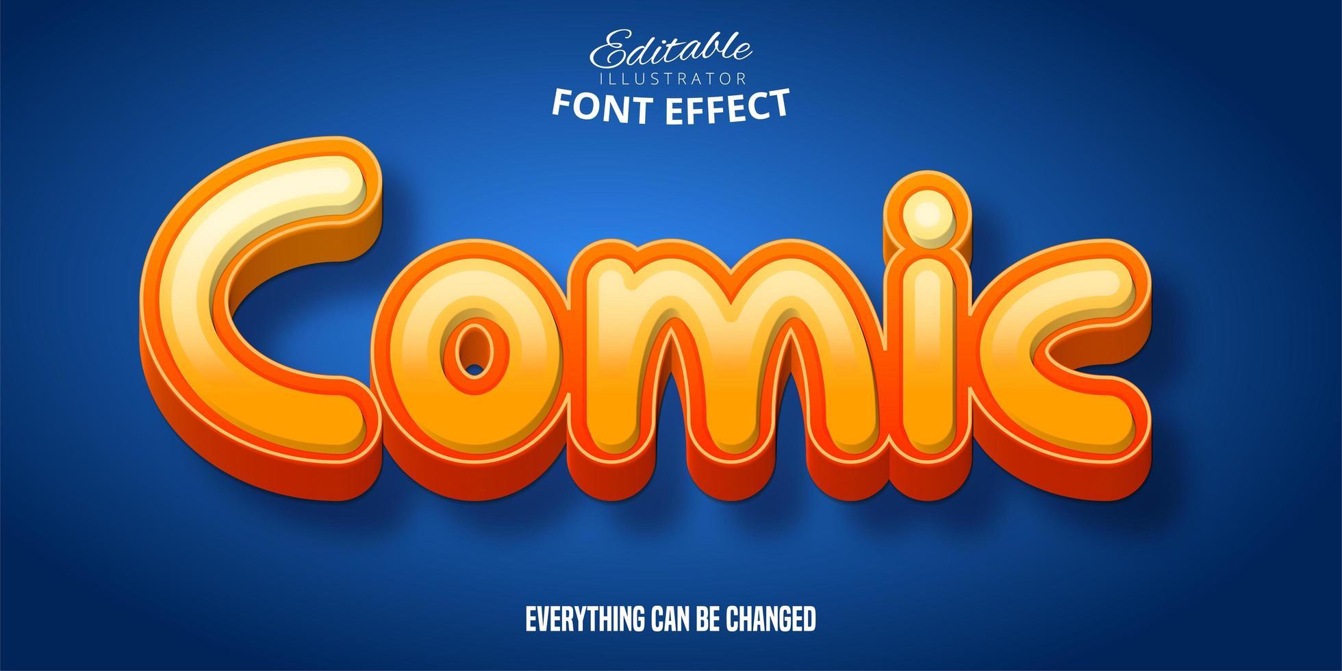 komiska 3d orange teckensnitt effekt vektor