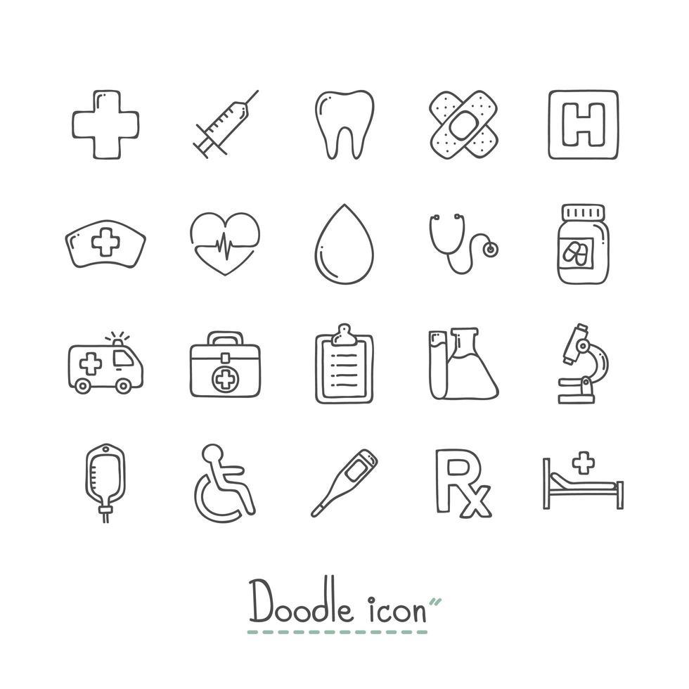 Gekritzel medizinische Symbole gesetzt vektor