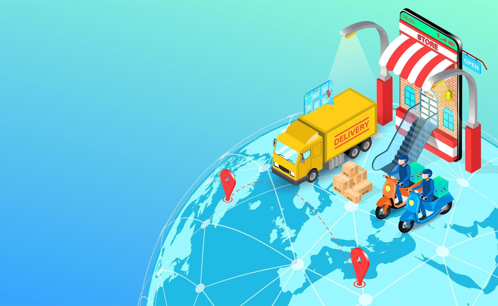 global expressleverans med skoter och lastbil vektor