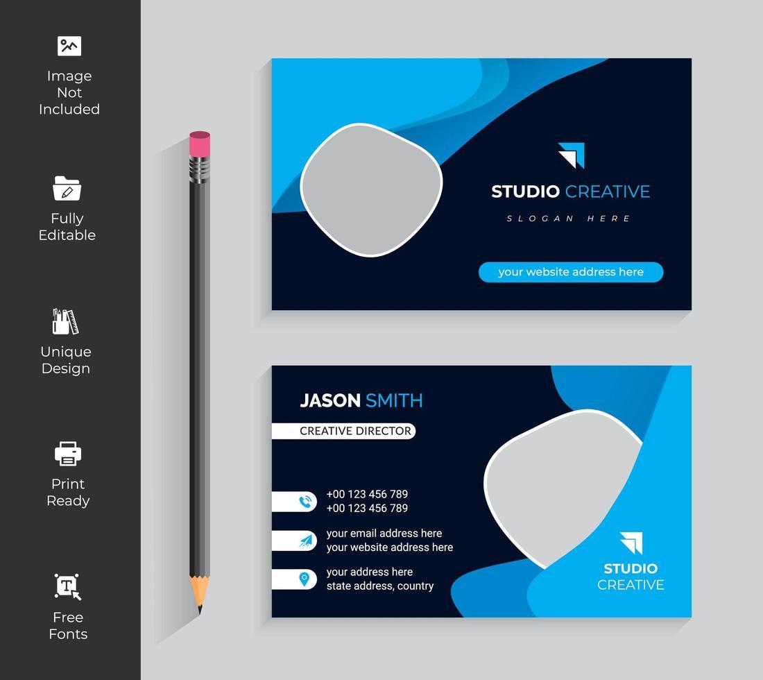 Visitenkarte mit blauen und schwarzen abgerundeten Formen vektor
