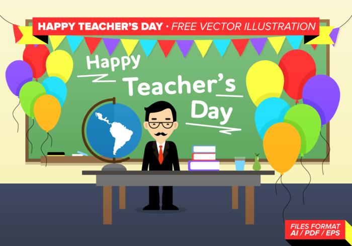 Glad lärardag Gratis vektor illustration