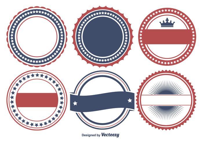 Bunte patriotische Abzeichen Form Set vektor