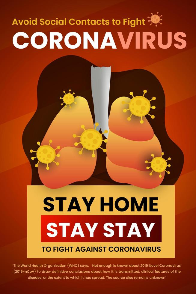 Bleib zu Hause, Gesundheitsprobleme vermeiden soziales Kontaktplakat vektor
