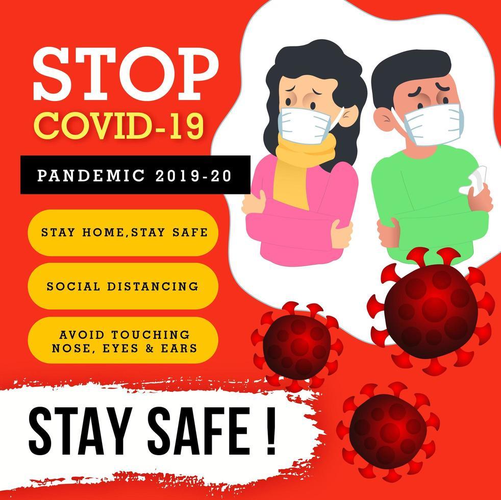 Stop Covid-19 Bewusstsein Poster Design vektor