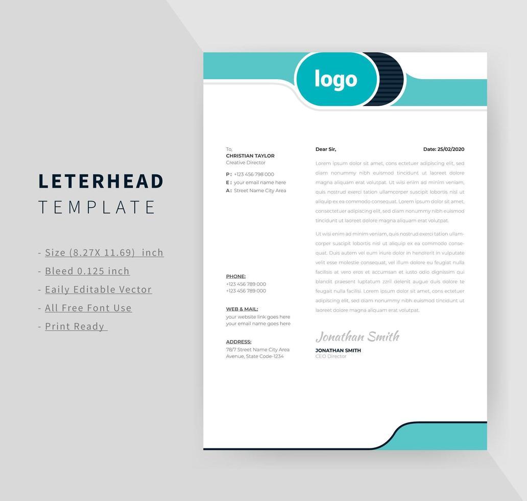 kreatives blaugrünes Design Briefkopfdesign vektor