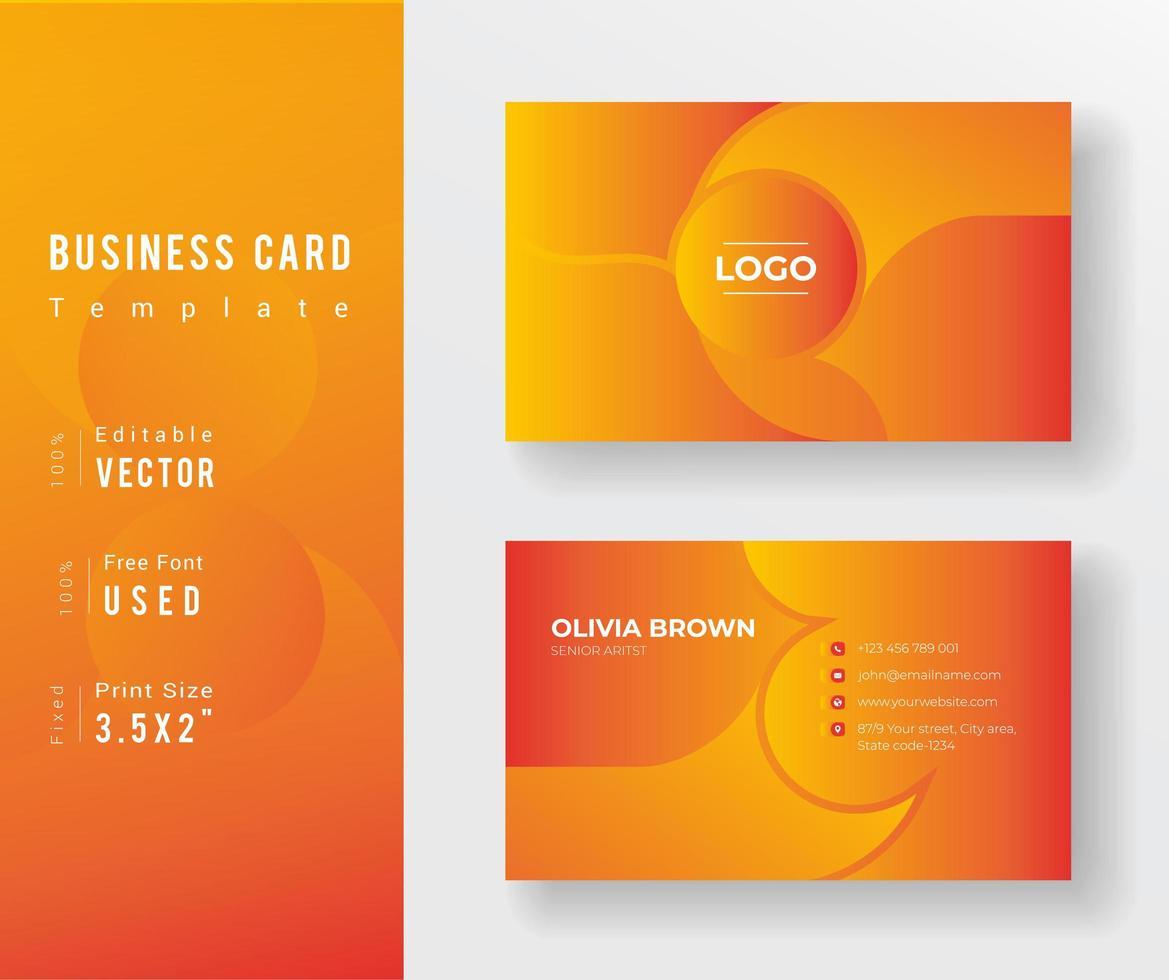 Visitenkartenschablone mit abgerundetem Design mit orangefarbenem Farbverlauf vektor