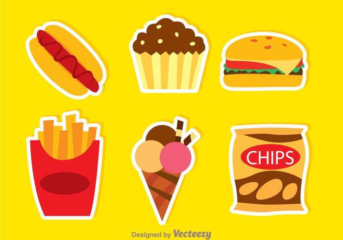 Fatty Food Farben Icons vektor