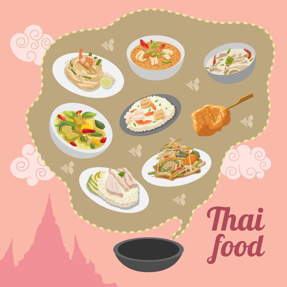thailändsk mataffischdesign vektor