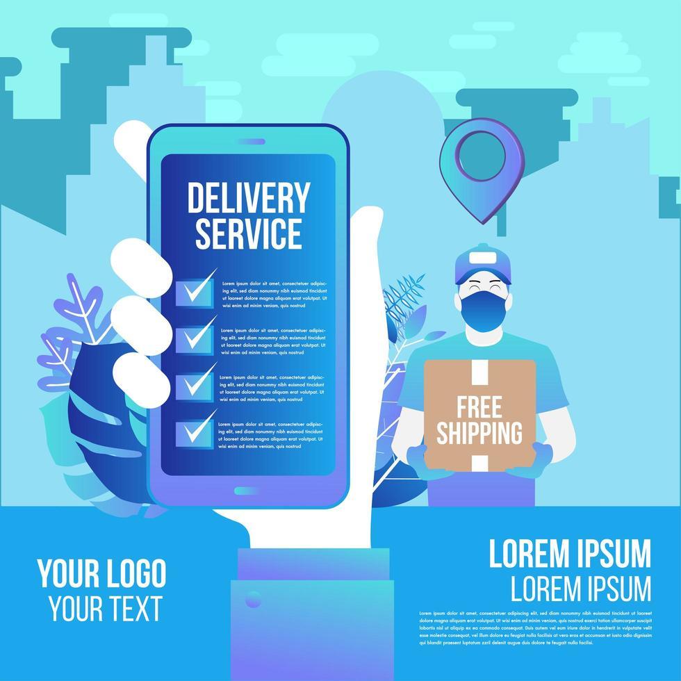 schnelle Online-Lieferung auf App von Mann mit Maske vektor