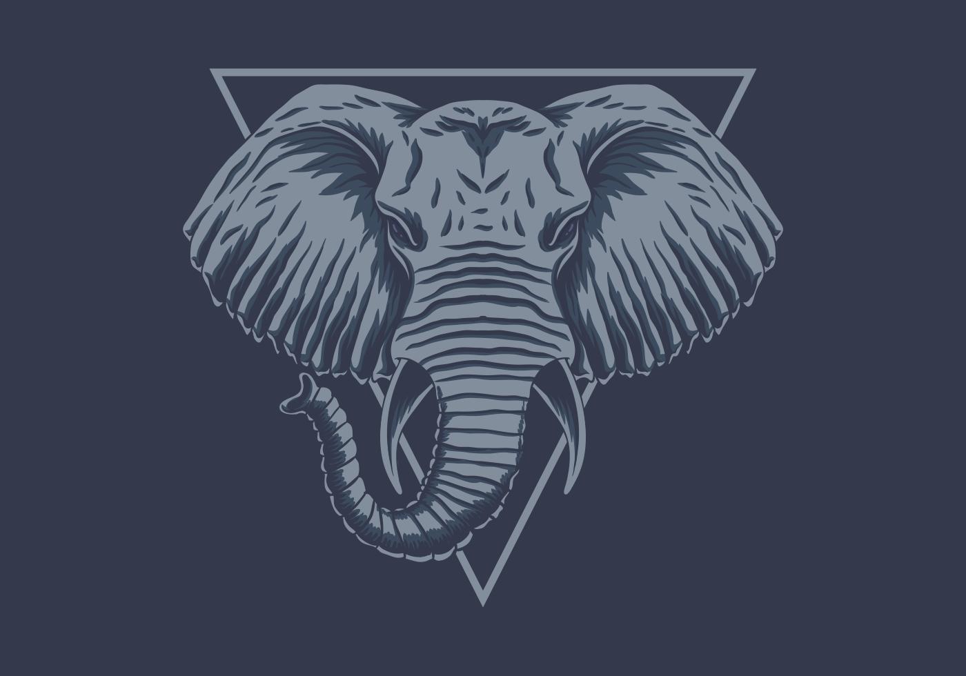 blå elefanthuvud vektor