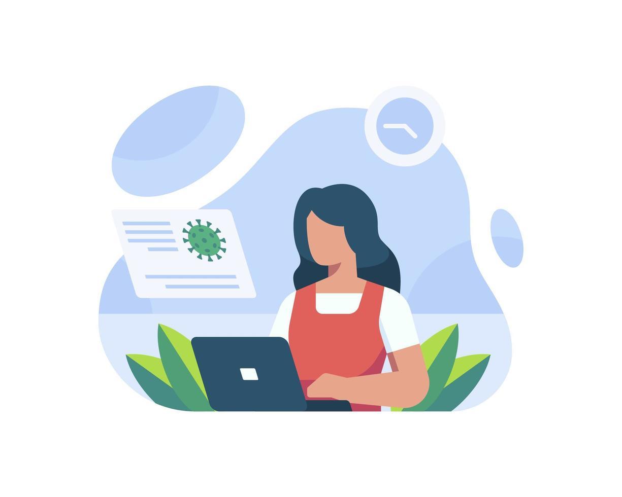 en kvinna läser nyheterna vektor