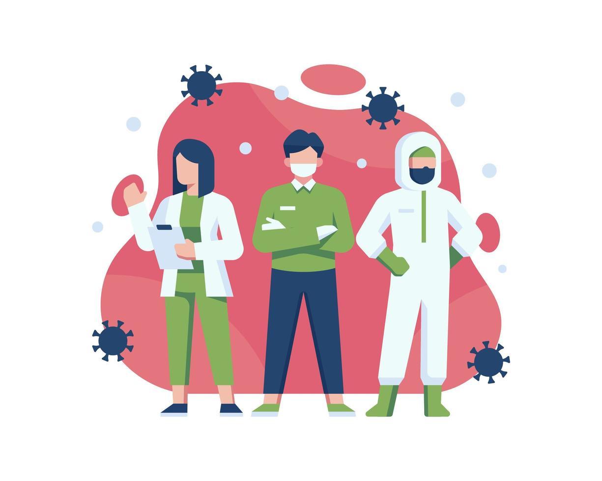 coronavirus medicinska superhjältar vektor