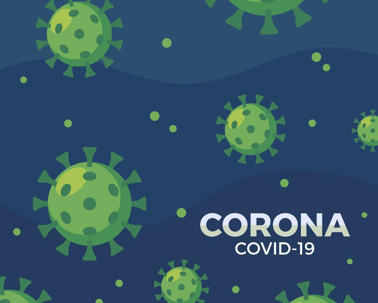 grönt coronavirusmönster på blått vektor