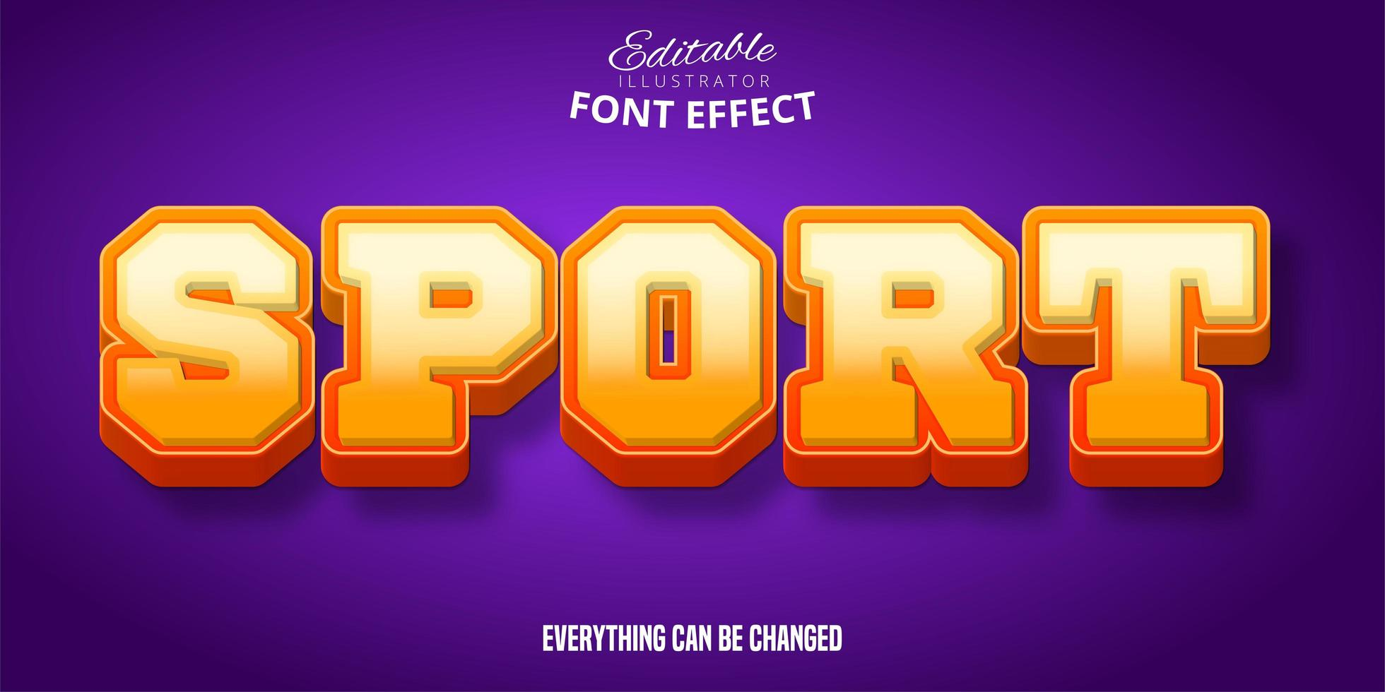 Sport Orange Farbverlauf bearbeitbare Schrift Effekt vektor