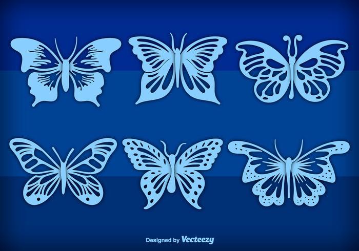 Blaue Hand gezeichnete Schmetterlinge vektor