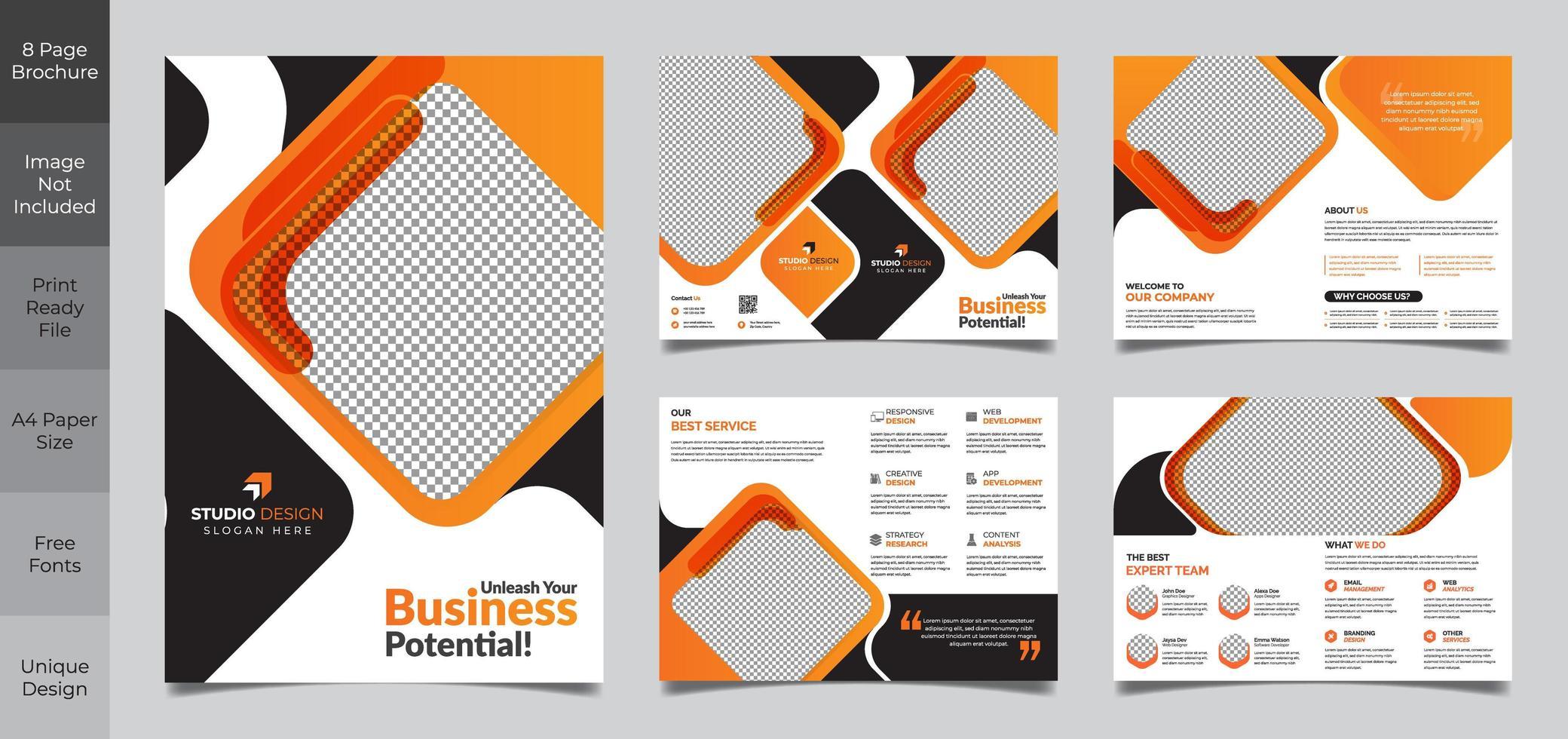 8 Seiten orange und schwarz Corporate Square Broschüre Vorlage vektor