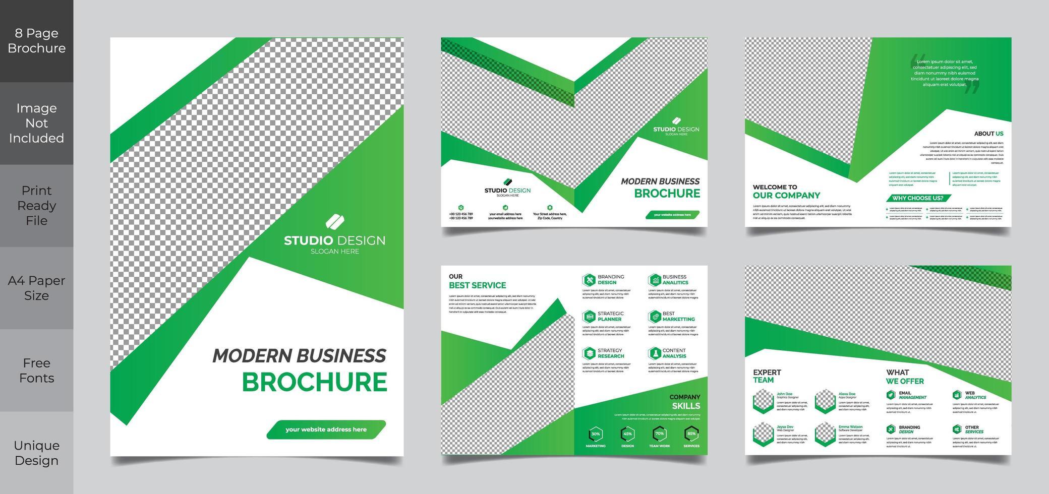 8 sidor grön och vit affärsbroschyrmall vektor