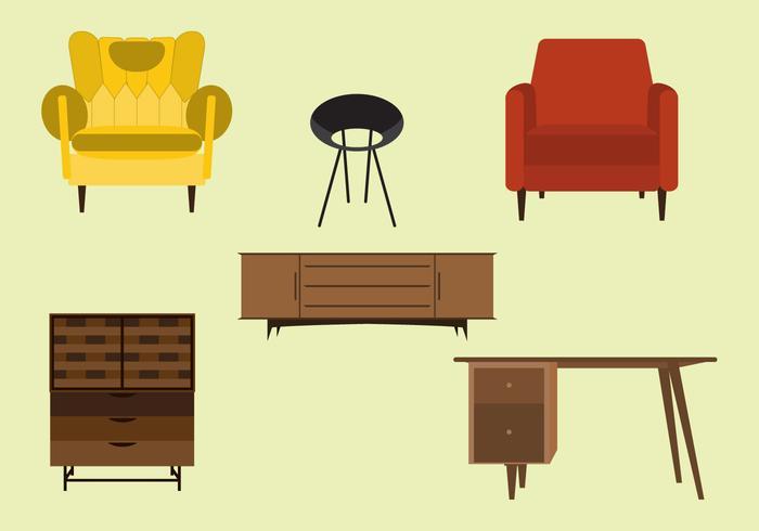 Vektor uppsättning mitten av århundradet möbler
