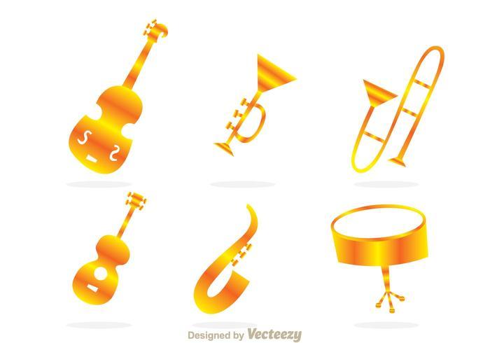 Guld ikoner för musikinstrument vektor