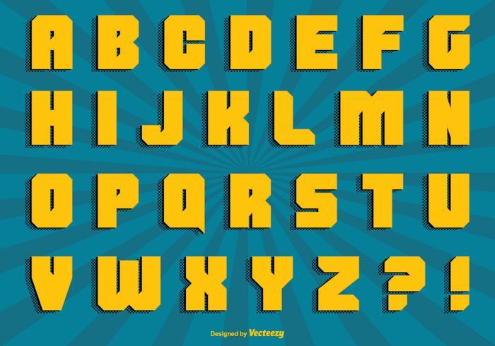 Comic Style Alphabet Set vektor