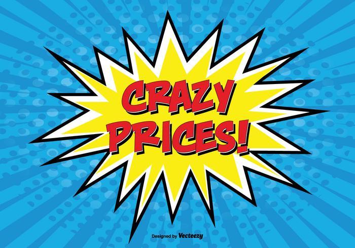Comic Style Promotional '' Crazy Prices '' Illustration vektor