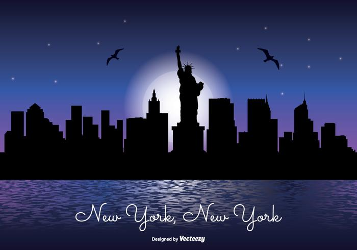 New York Nacht Skyline Illustration vektor