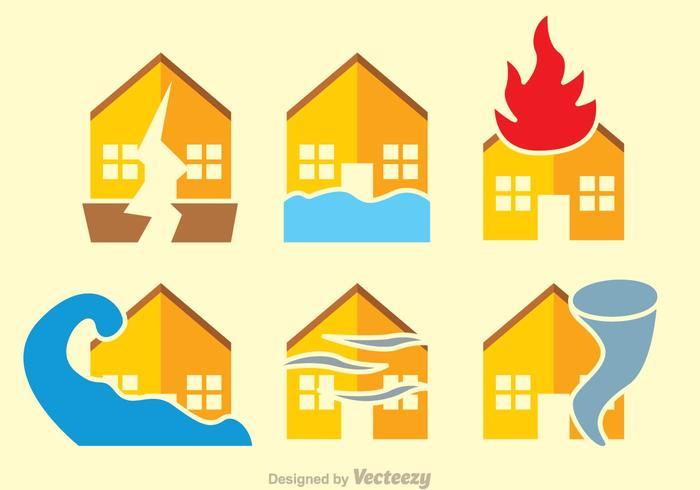 Naturkatastrophenflache Vektoren