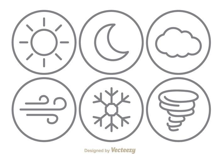 Väderlinje ikoner vektor