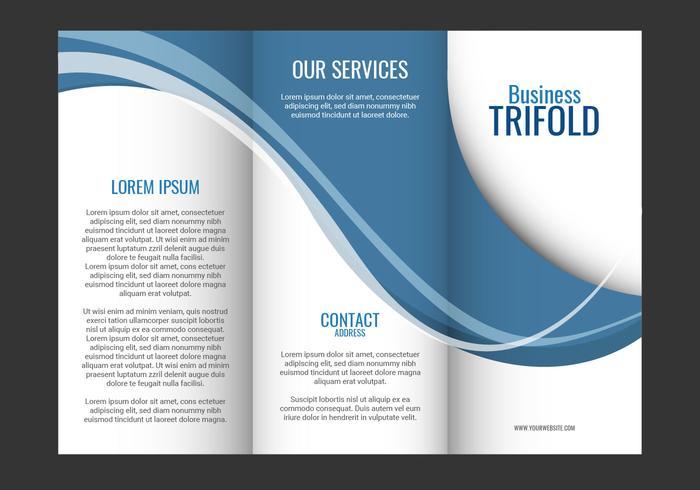 Mall design av blå våg trifold broschyr vektor
