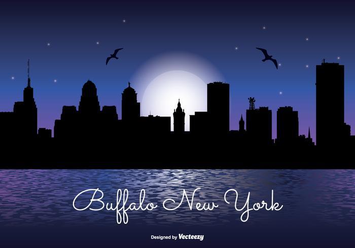 Buffalo New York Nacht Skyline vektor