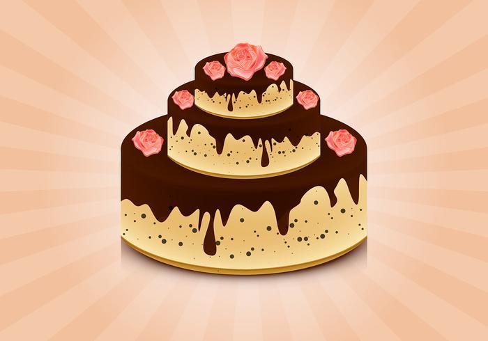 Kuchen mit Rosen Vektor Hintergrund