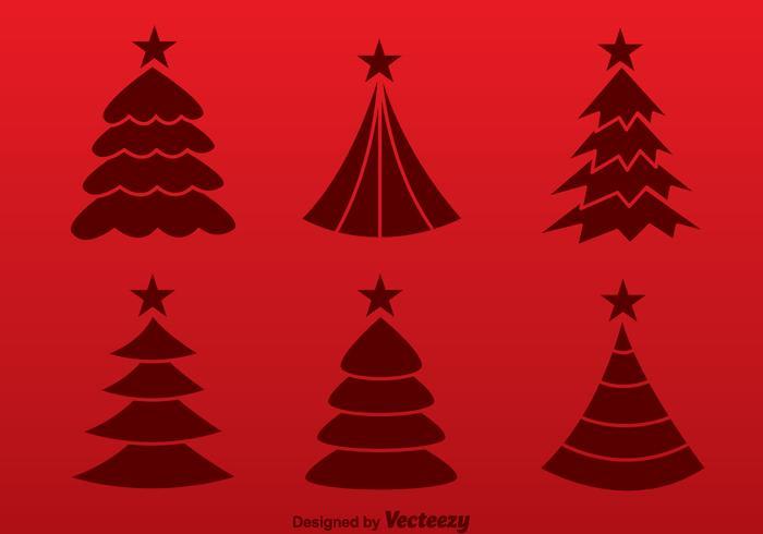 Julgran röd siluett vektorer