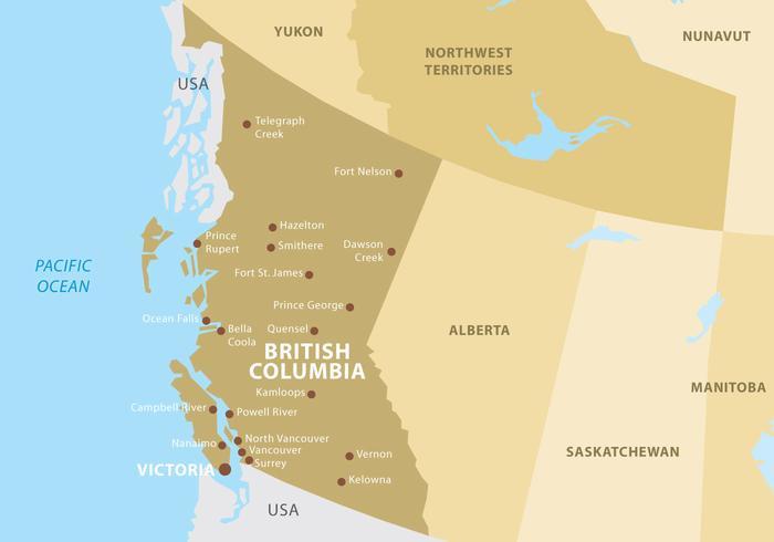 Brittisk columbia karta vektor